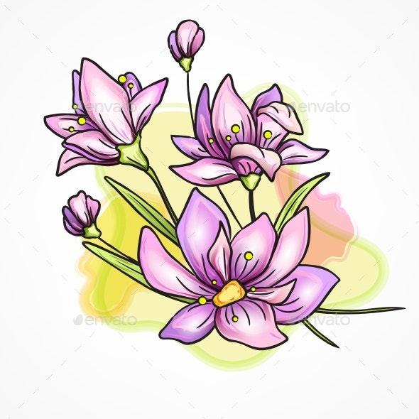 Flower Watercolor Branch Violet - Flowers & Plants Nature
