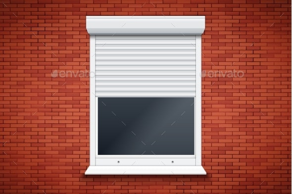 White Roller Shutters on Window - Sports/Activity Conceptual