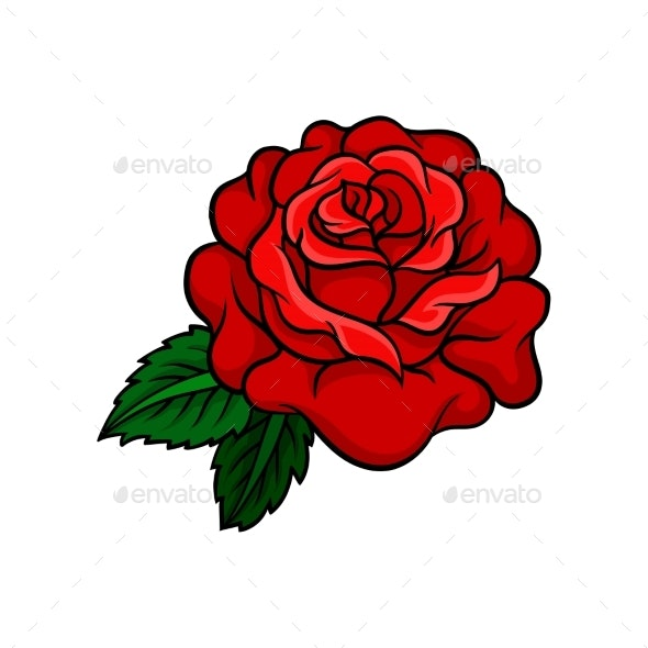 Vector Icon of Bright Rose Bud with Two Green - Flowers & Plants Nature