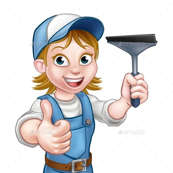 Cartoon Female Window Cleaner Character