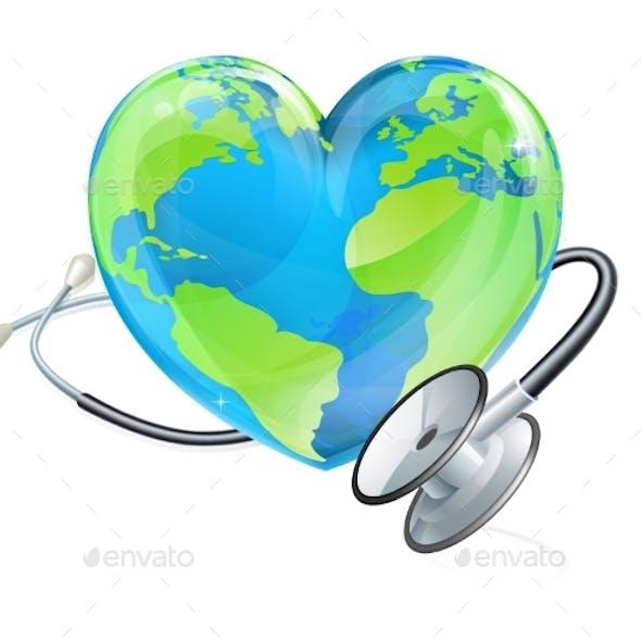 Globe World Health Day Heart Earth Stethoscope