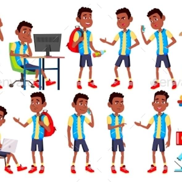 Boy Schoolboy Kid Poses Set Vector