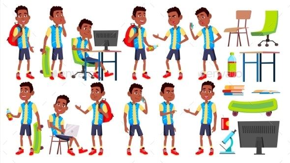 Boy Schoolboy Kid Poses Set Vector - People Characters