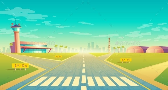 Vector Landing Strip for Airplanes - Man-made Objects Objects