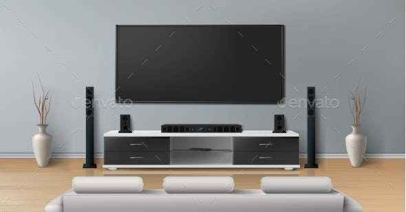 Vector Mockup Of Room With Home Theater System