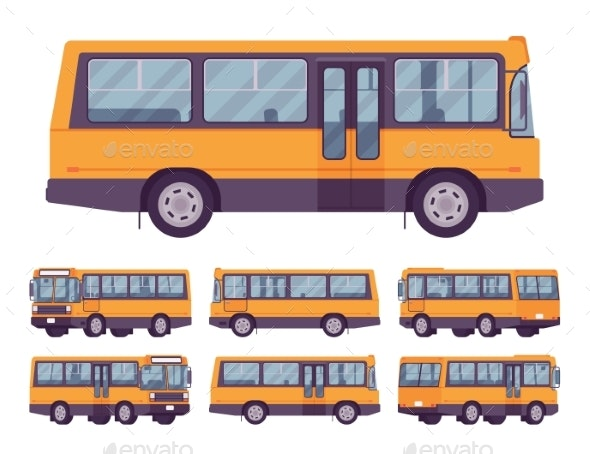Yellow Bus Set - Man-made Objects Objects
