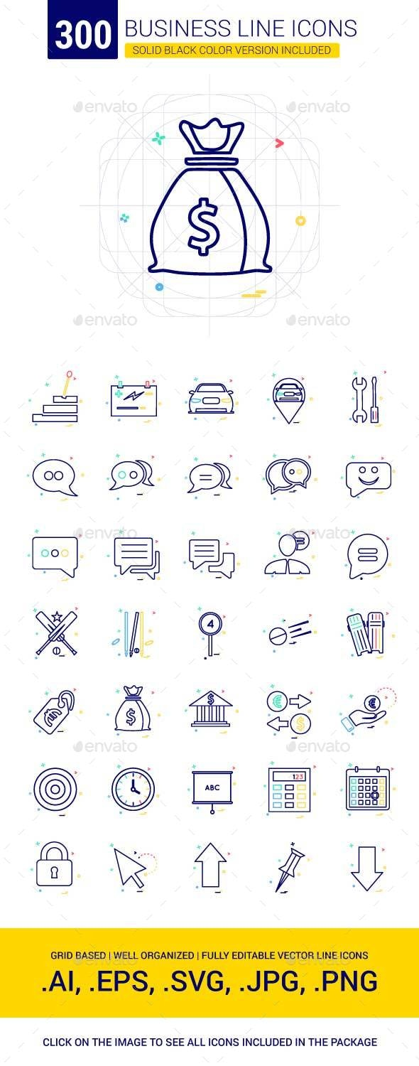300 Business Line Icons - Business Icons