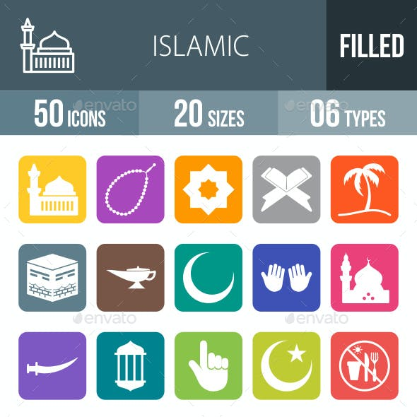 Islamic Flat Round Corner Icons