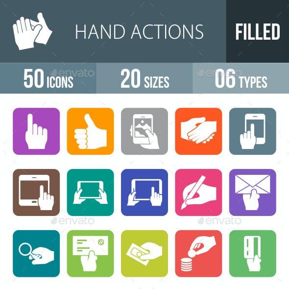 Hand Actions Flat Round Corner Icons