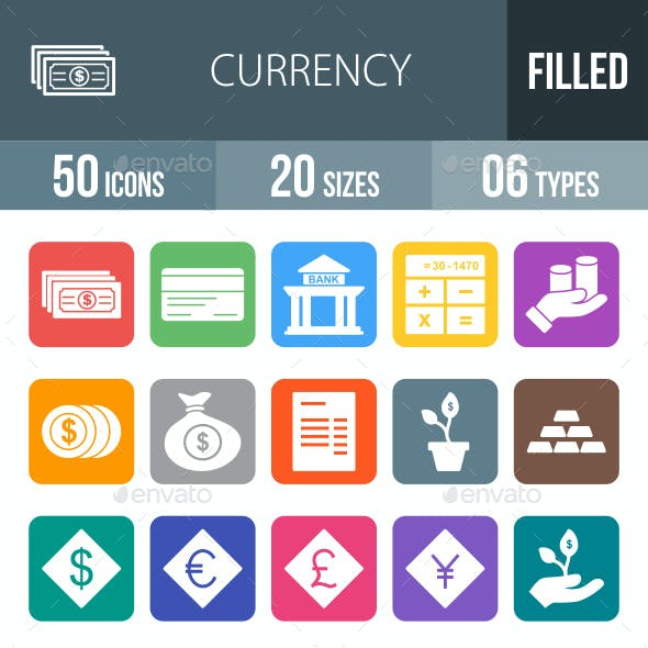 Currency Flat Round Corner Icons