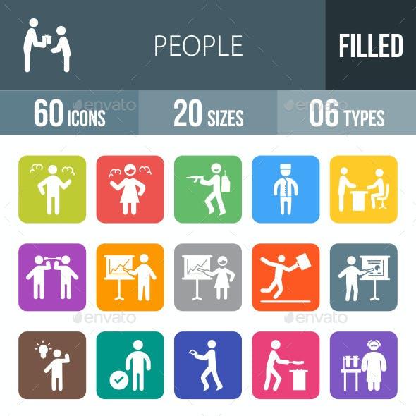 People Flat Round Corner Icons