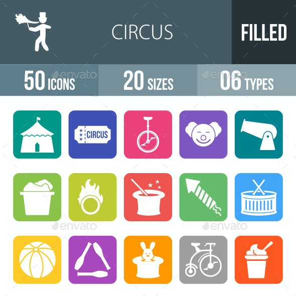 Circus Flat Round Corner Icons