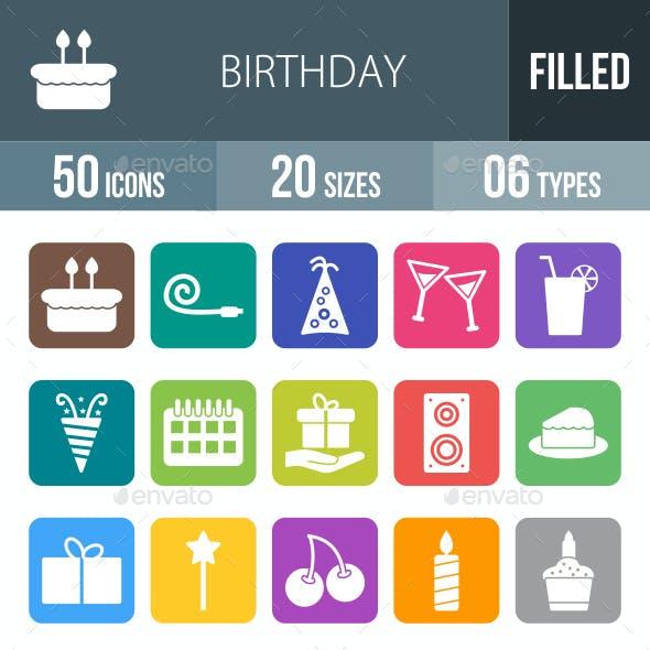 Birthday Flat Round Corner Icons