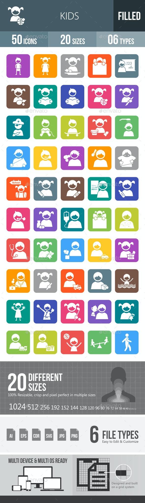 Kids Flat Round Corner Icons - Icons