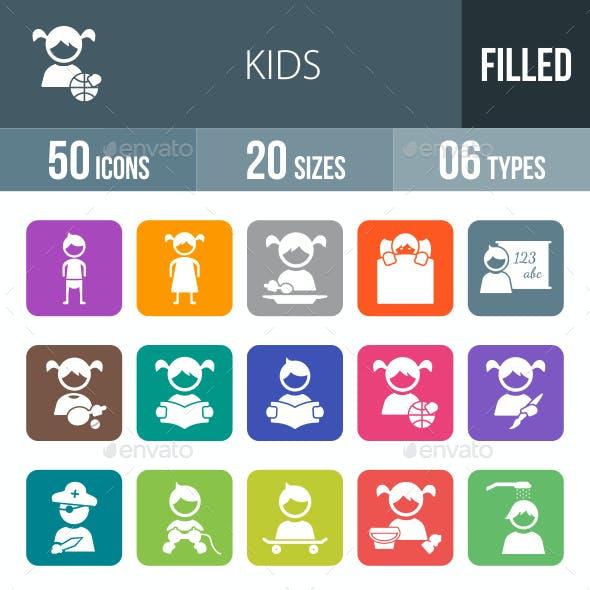 Kids Flat Round Corner Icons