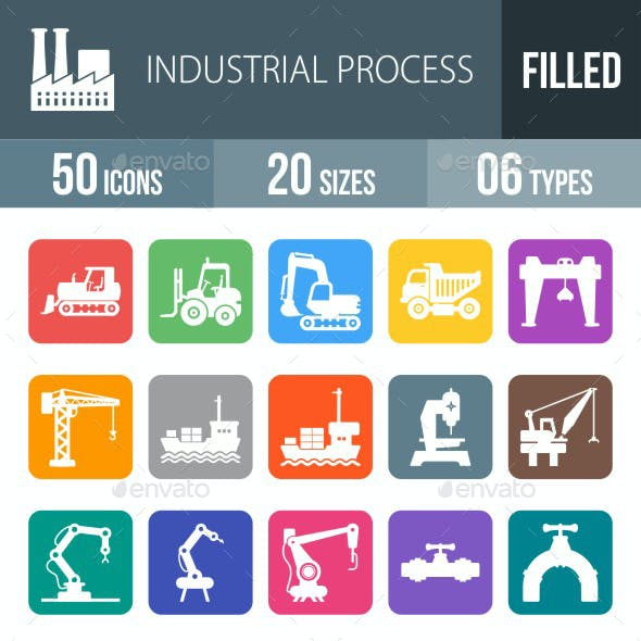 Industrial Process Flat Round Corner Icons