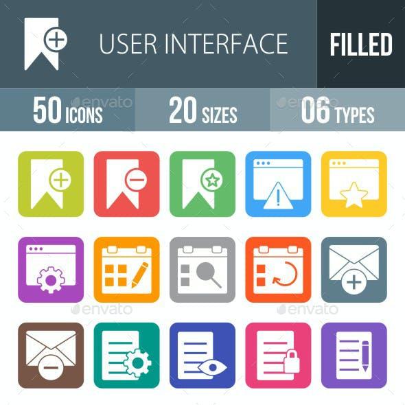 User Interface Flat Round Corner Icons