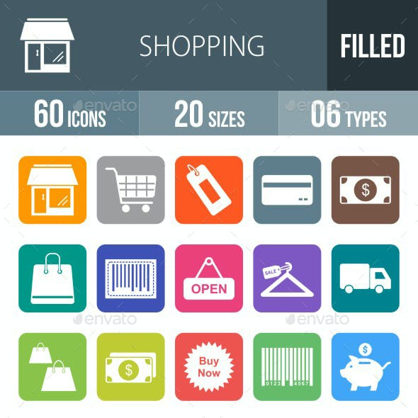 Shopping Flat Round Corner Icons