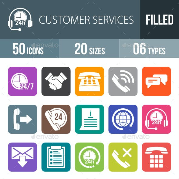 Customer Services Flat Round Corner Icons