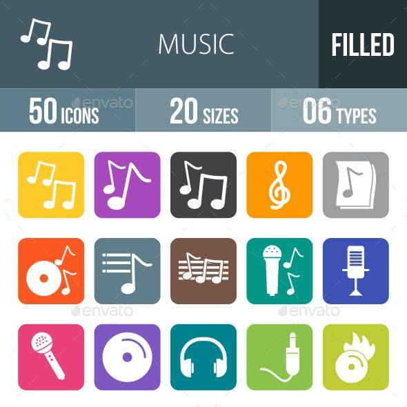 Music Flat Round Corner Icons