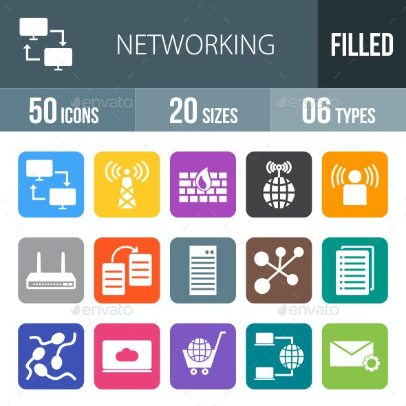 Networking Flat Round Corner Icons