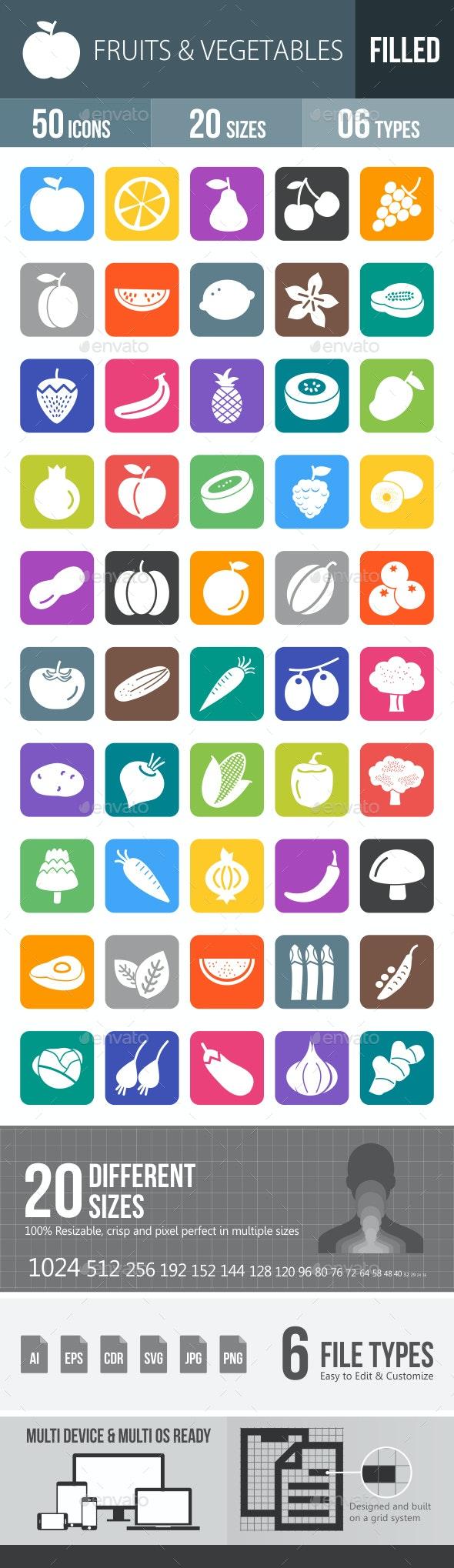 Fruits & Vegetables Flat Round Corner Icons