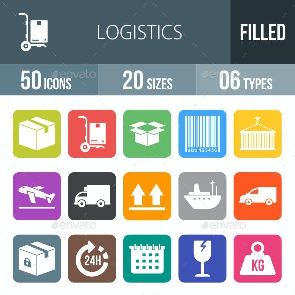 Logistics Flat Round Corner Icons