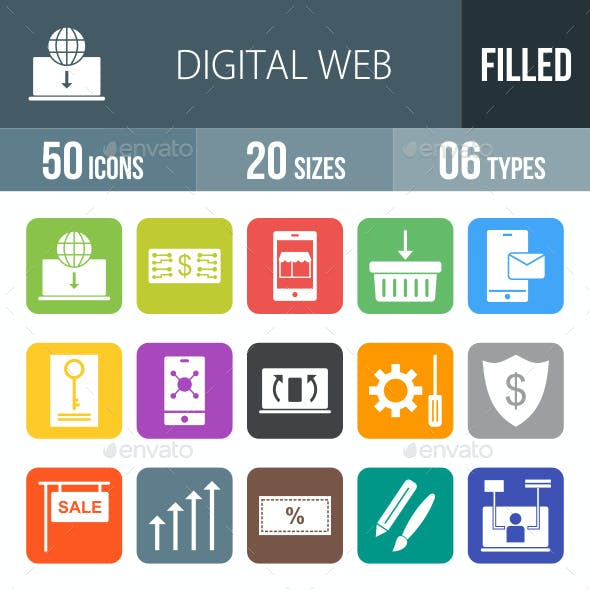 Digital Web Flat Round Corner Icons
