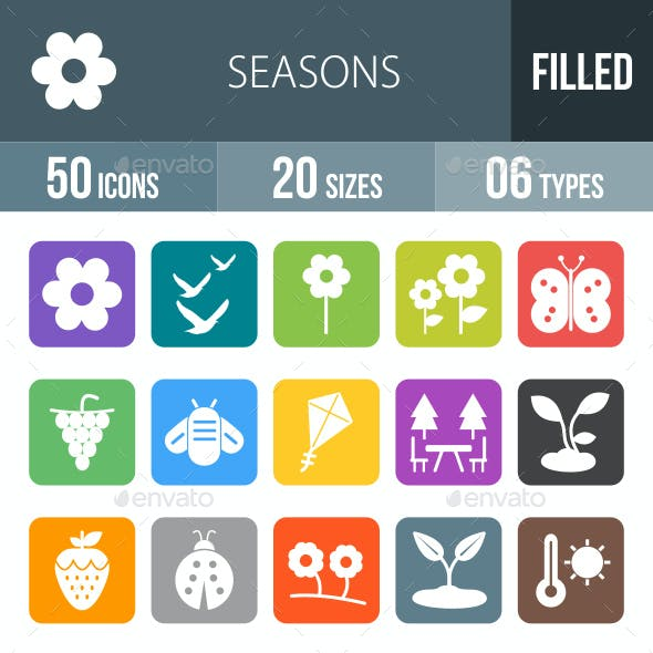 Seasons Flat Round Corner Icons