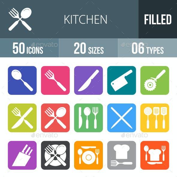 Kitchen Flat Round Corner Icons