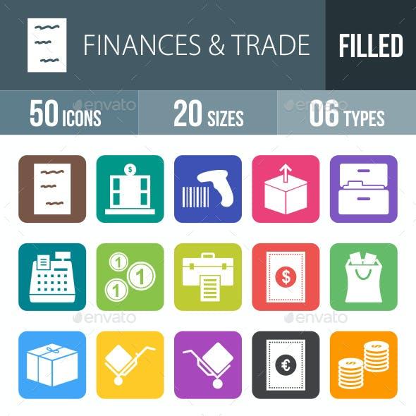 Finances & Trade Flat Round Corner Icons