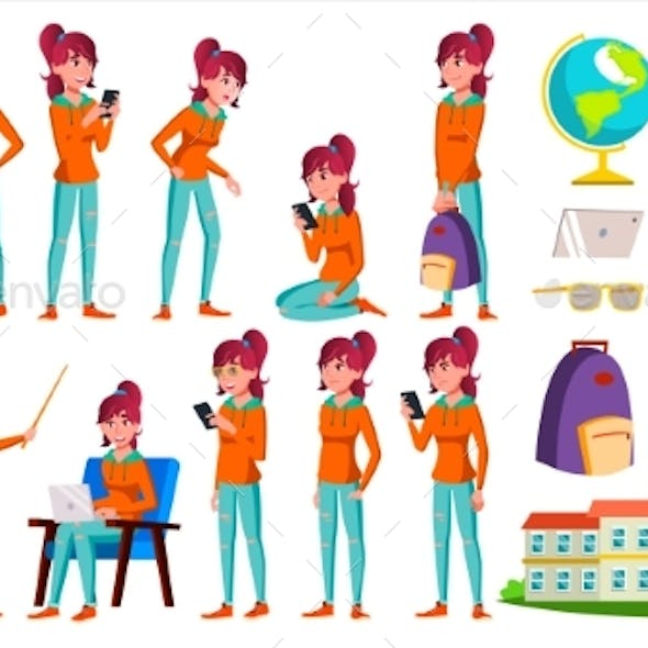 Teen Girl Poses Set Vector. Adult People. Casual