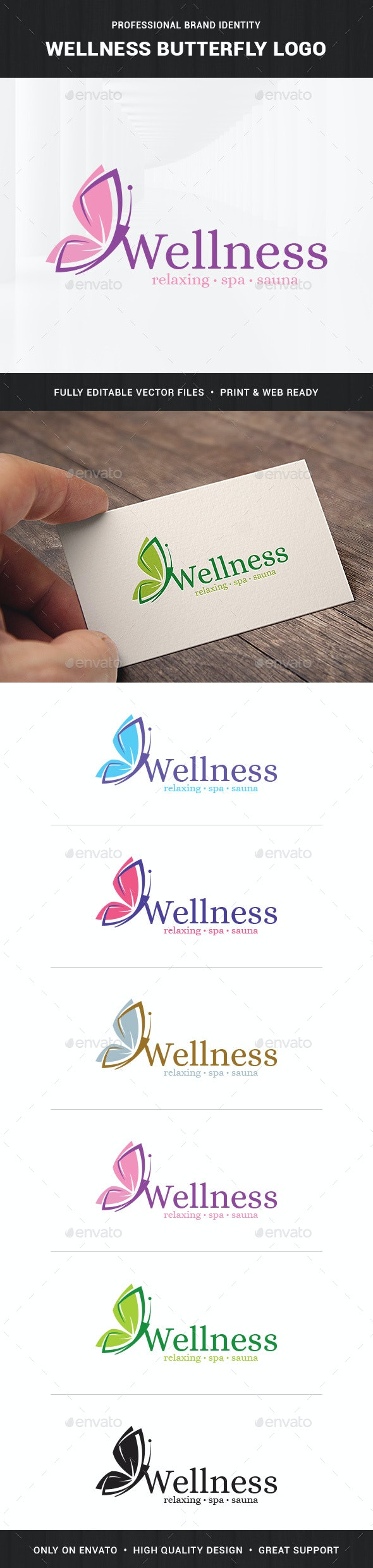 Wellness - Butterfly Logo Template - Animals Logo Templates
