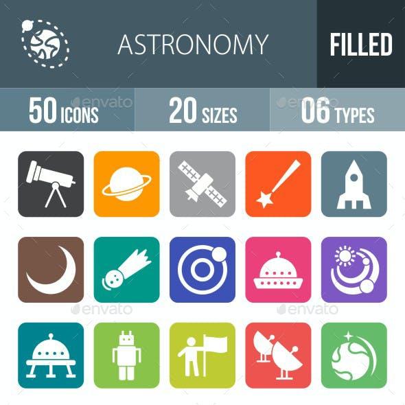 Astronomy Flat Round Corner Icons