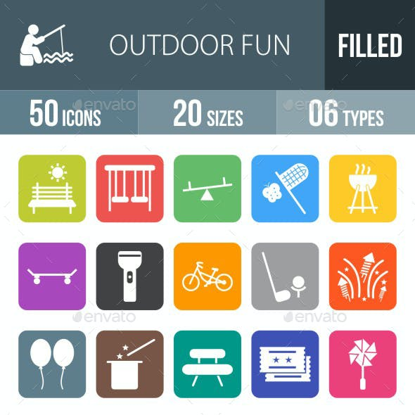 Outdoor Fun Flat Round Corner Icons