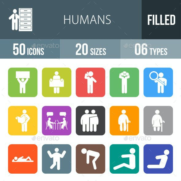 Humans Flat Round Corner Icons