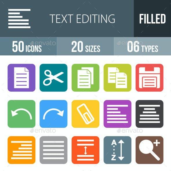 Text Editing Flat Round Corner Icons