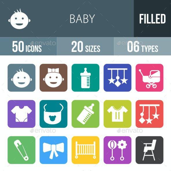 Baby Flat Round Corner Icons