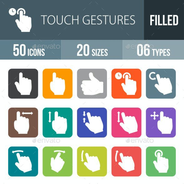 Touch Gestures Flat Round Corner Icons