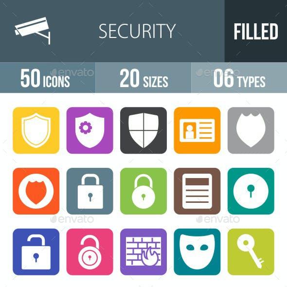 Security Flat Round Corner Icons