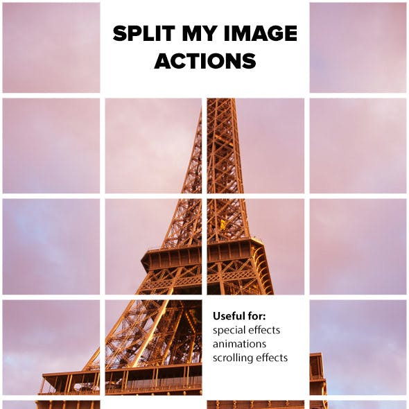 Split My Image Actions for Photoshop