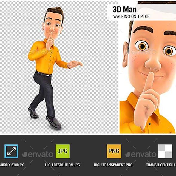 3D Man Walking on Tiptoe