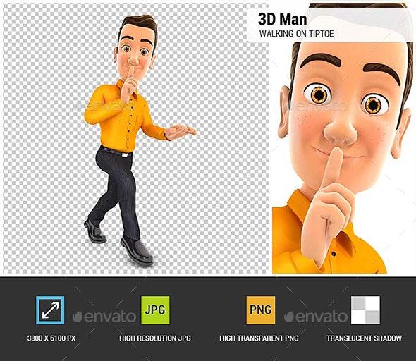 3D Man Walking on Tiptoe - Characters 3D Renders