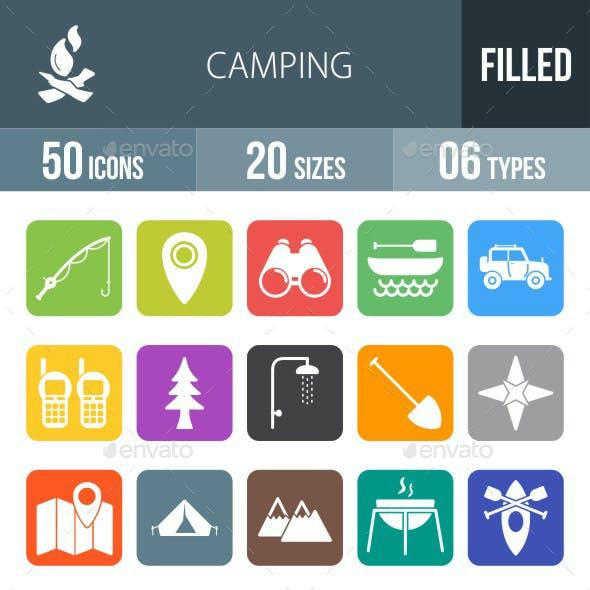 Camping Flat Round Corner Icons