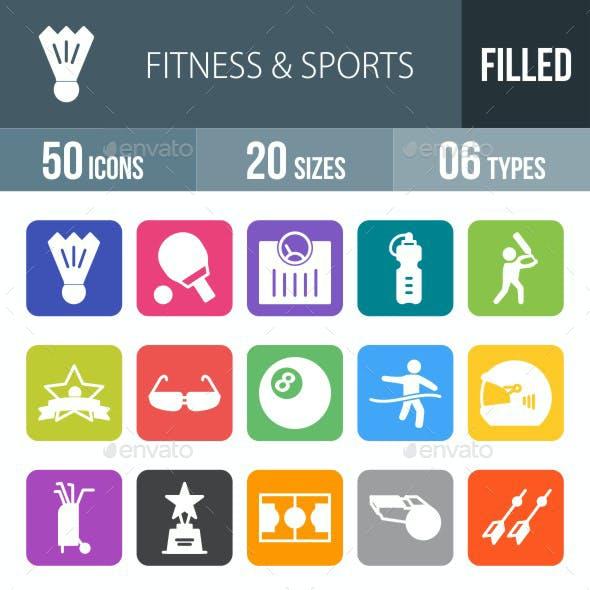 Fitness & Sports Flat Round Corner Icons