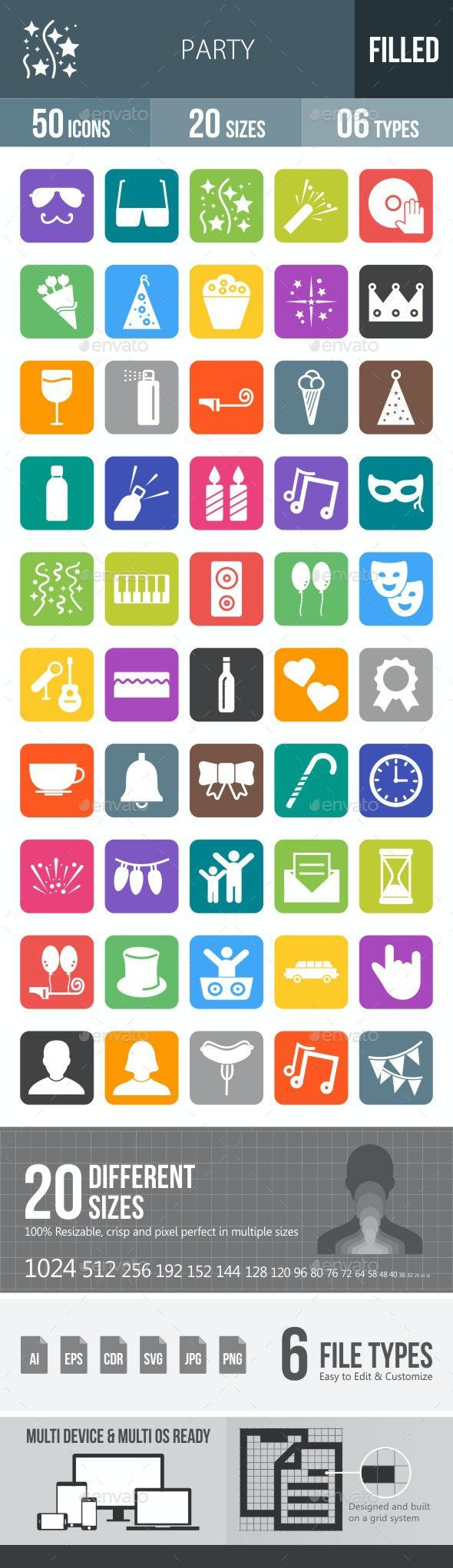Party Flat Round Corner Icons - Icons