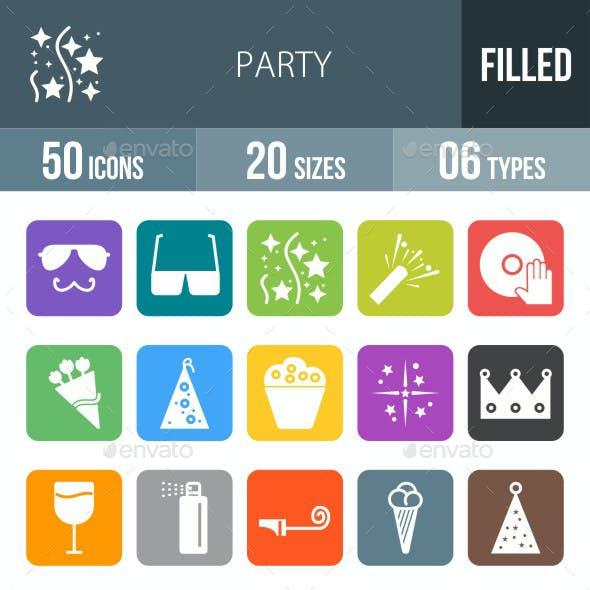 Party Flat Round Corner Icons