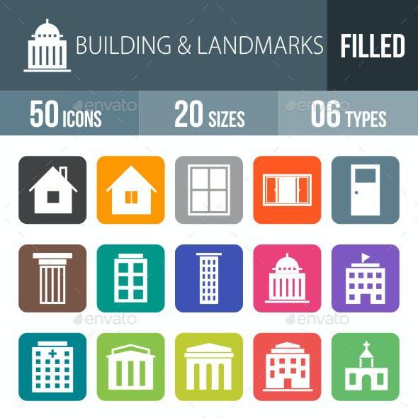Buildings & Landmarks Flat Round Corner Icons