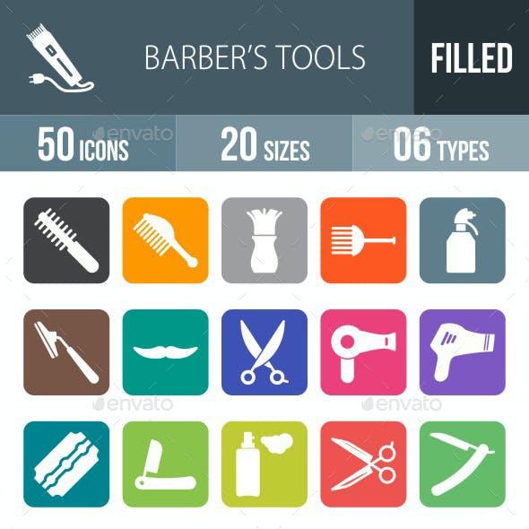 Barber's Tools Flat Round Corner Icons