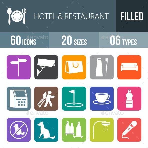 Hotel & Restaurant Flat Round Corner Icons